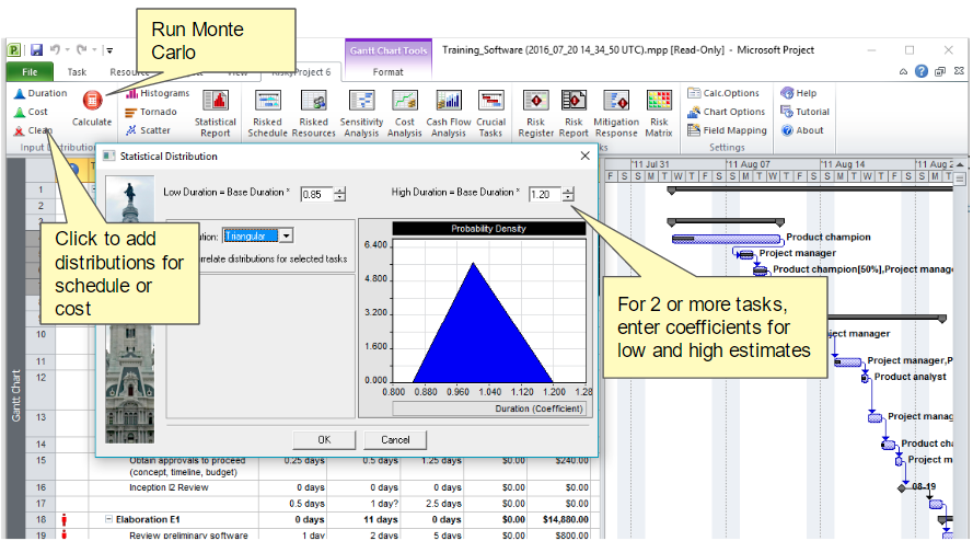 Project risk analysis and risk management with Microsoft Project