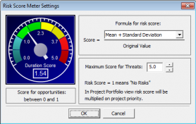 Risk Score Meter settings